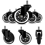 m·kvfa 5Pcs Office Chair Caster Rubber Swivel Wheels Replacement Heavy Duty 3 inch Safe for Protecting Hardwood Floors Universal for Most Computer Desk Chairs