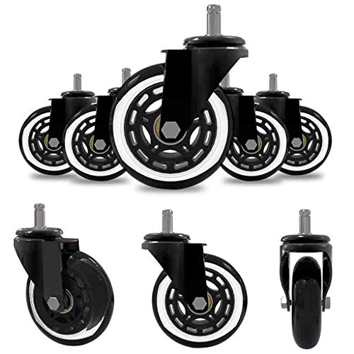 (m·kvfa 5Pcs Office Chair Caster Rubber Swivel Wheels Replacement Heavy Duty 3 inch Safe for Protecting Hardwood Floors Universal for Most Computer Desk Chairs)