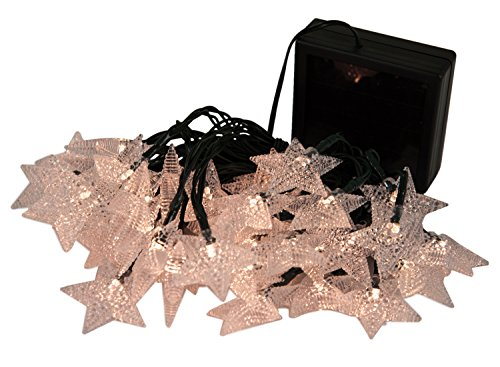 WED Solar Powered 20ft 40 LED Starry Outdoor String Lights, Waterproof Fairy Star String Lights for Outside Garden, Yard, Home, Landscape, Halloween Christmas Party, Warm White
