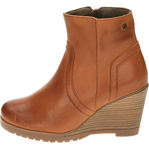 Tan Carmela Brown Leather Boots Ankle Heeled Wedge PP8vq