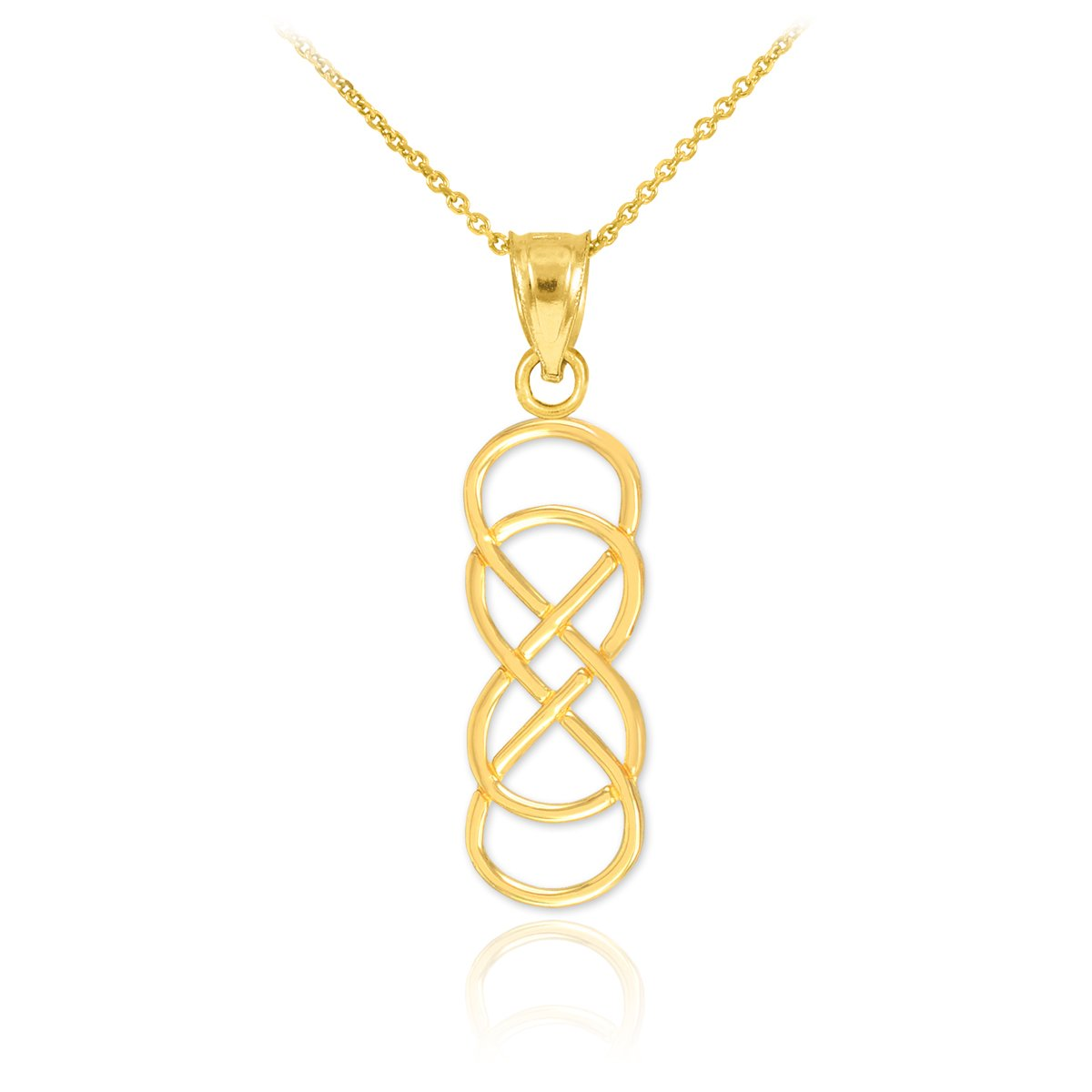 14k Yellow Gold Vertical Double Infinity Pendant Necklace, 20''
