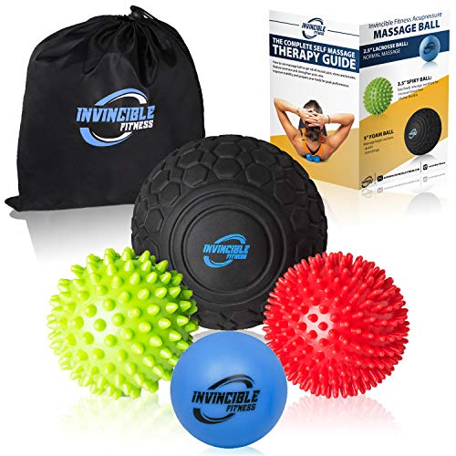 Invincible Fitness Massage Balls Set for Deep Tissue Muscle Recovery, Perfect for Myofascial Release, Trigger Point Therapy, Mobility and Plantar Fasciitis (Black, Blue, Red, Green) ()