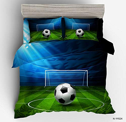 Abojoy 3D Sports Decor King Size Duvet Cover Set, Special Green Lawn Soccer Football Field Blue Print Kids Boys Teens Lightweight Polyester Bed Linen Decorative 3PC Bedding Set with 2 Pillow Shams