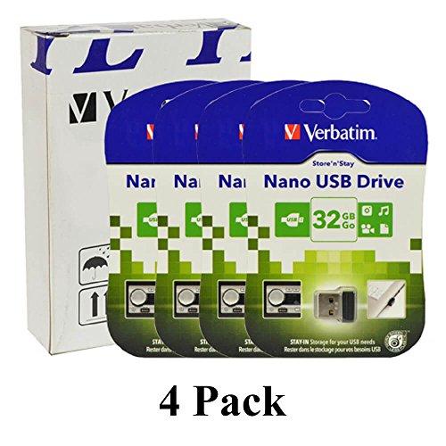 Verbatim 4 Pack Store 'n' Stay 32GB Nano USB 2.0 Pen Flash Drive - Black - 098130-888