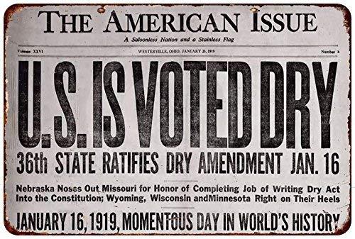 cwb2jcwb2jcwb2j 1919 Prohibition Headline Vintage Reproduction Metal sign 8 x 12