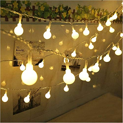 yueie 80 LED Globe String Lights- 30 Feet Battery Operated Globe Fairy Light - Perfect Indoor, Outdoor, Garden, Chrismas Tree, Party, Festival, Wedding Decoration (30' String)