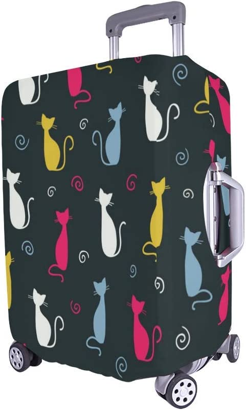 InterestPrint Luggage Cover Cute Color Cats Traveling Luggage Cover Polyester Suitcase 20x24 Inch Unisex