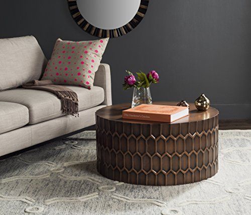 Safavieh Home Collection Corey Antique Copper Coffee Table (Top Copper Table Round)