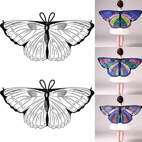 HHei_K Kids Girls Creative DIY Dress up Party Costume Self-Coloring Butterfly Cape Wings Angel Wings Chiffon Shawl]()