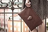 Large Brown zipper Leather Clutch with bronze sugar skull, iPad case, iPad mini