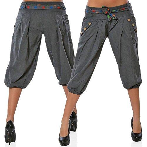 Tasche Breasted Cintura Con Donna Primaverile Taille Libero Pantalone 4 Harem 3 Inclusa Eleganti Baggy Pantaloni Swag Tempo Modern Nahen Moda Estivi Pantaloni Glamorous Semplice Grau Pantaloni Streetwear Pwwxv8d