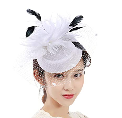 9b84e1dd80d552 Amazon.com: Tulle Feather Bow-Knot Mesh Hats Bowler Fascinator Headband Net  Flower Hairclip For Cocktail Party Royal Ascot Bride Wedding Banquet,White:  ...