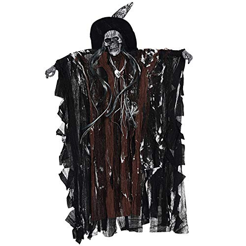 Lisli Halloween Animated Hanging Grim Reaper Skull Props Haunted House Decoration Flying Ghost with Sounds and Flashing Red Eyes (Coffee) -