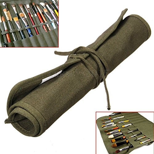 Yosoo Roll Up Canvas Artist Watercolor Draw Pen Oil Paint Brush Bag Case Holder 18