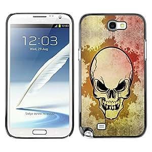 TopCaseStore / la caja del caucho duro de la cubierta de protección de la piel - Cool Scary Skull Art Goth - Samsung Galaxy Note 2 N7100