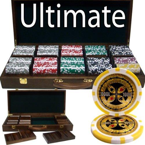 500 Ct Ultimate 14 Gram Poker Chip Set w/ Walnut Wooden Case