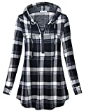 Messic Plaid Pullover Shirts for Women, Long Tops to Wear with Leggings Cute Zip V Neck Knitted Lightweight Hooded Tunic Blouse Casual Loose Fitting Breastfeeding Tops Grey Black XXL