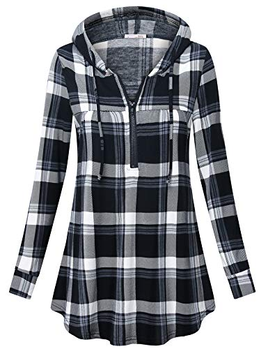 Messic Women Tunic Tops, Ladies Cute Zip up Vneck Long Sleeve Petite Plaid Tunic Shirts Trendy Grid Multi-Color Printed Blouse Comfy Loose Fitting Tops to Wear with Leggings Grey Black ()