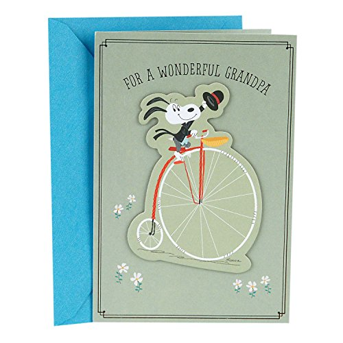 Hallmark Father's Day Greeting Card for Grandpa from Child or Teen (Peanuts Snoopy Riding a Bike)