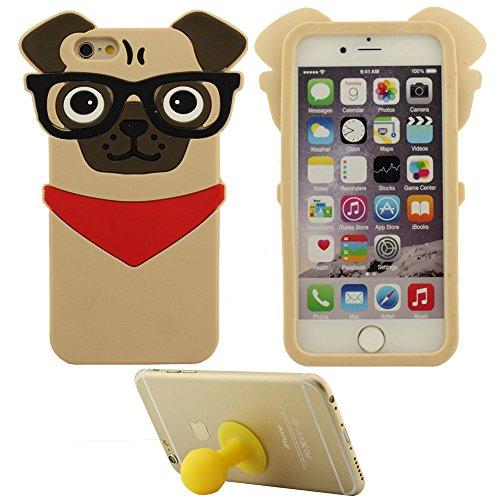 Coque Housse de Protection pour Apple iPhone 7 Plus 5.5 inch Doux Silicone Case Anti choc Couverture arrière Mignonne Chiot Chien avec 1 Silicone Kickstand