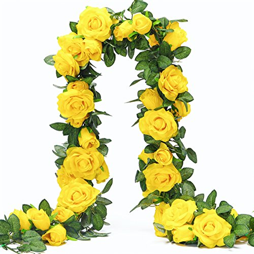 PARTY JOY 6.5Ft Artificial Rose Vine Silk Flower Garland Hanging Baskets Plants Home Outdoor Wedding Arch Garden Wall Decor,Pack of 2 (Yellow)