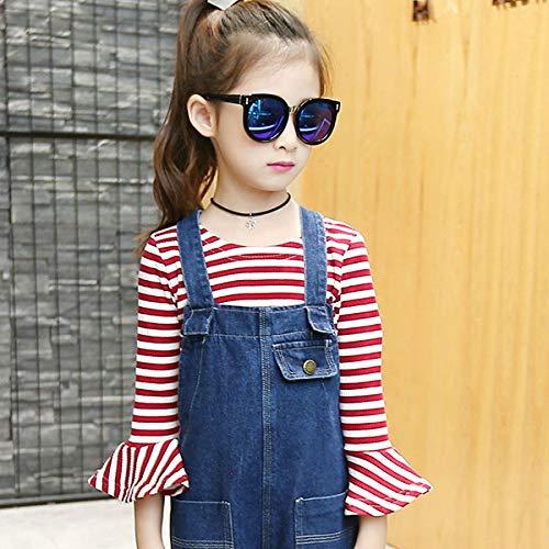 MV Spring Autumn Girls Children Lotus Leaf Sleeve Shirt Denim Overall Suit 2 Pieces