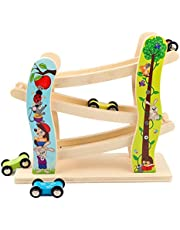 Toddler Toys Race Track, Wooden Race Track Car Ramp Racer With 4 Mini Cars, Educational Creative Toddler Toys For 1-2 Year Old Boy And Girl Gifts
