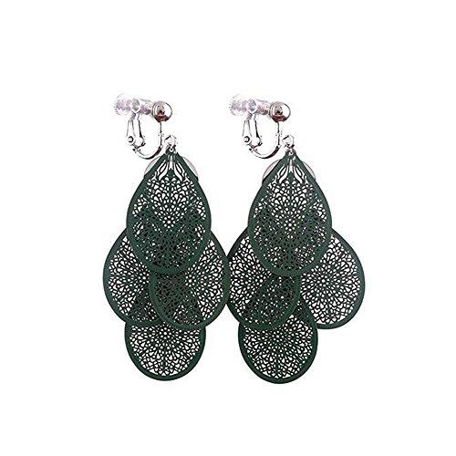 Grace Jun New Handmade Multi-layer Clover Water Drop Shape Clip on Earrings No Pierced for Women (Green clip on)