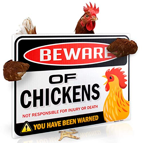Funny Beware of Chickens Warning Sign