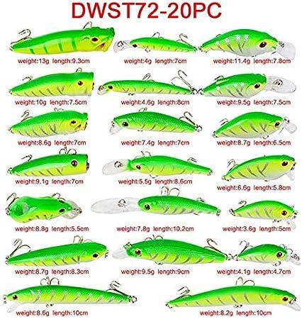 20pcs//Lot Mixed Fishing Lures Minnow Lure Crank Bait Hooks Fishing Tackle