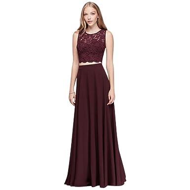 Amazon.com: David\'s Bridal Scalloped Top and Chiffon Skirt Two-Piece ...