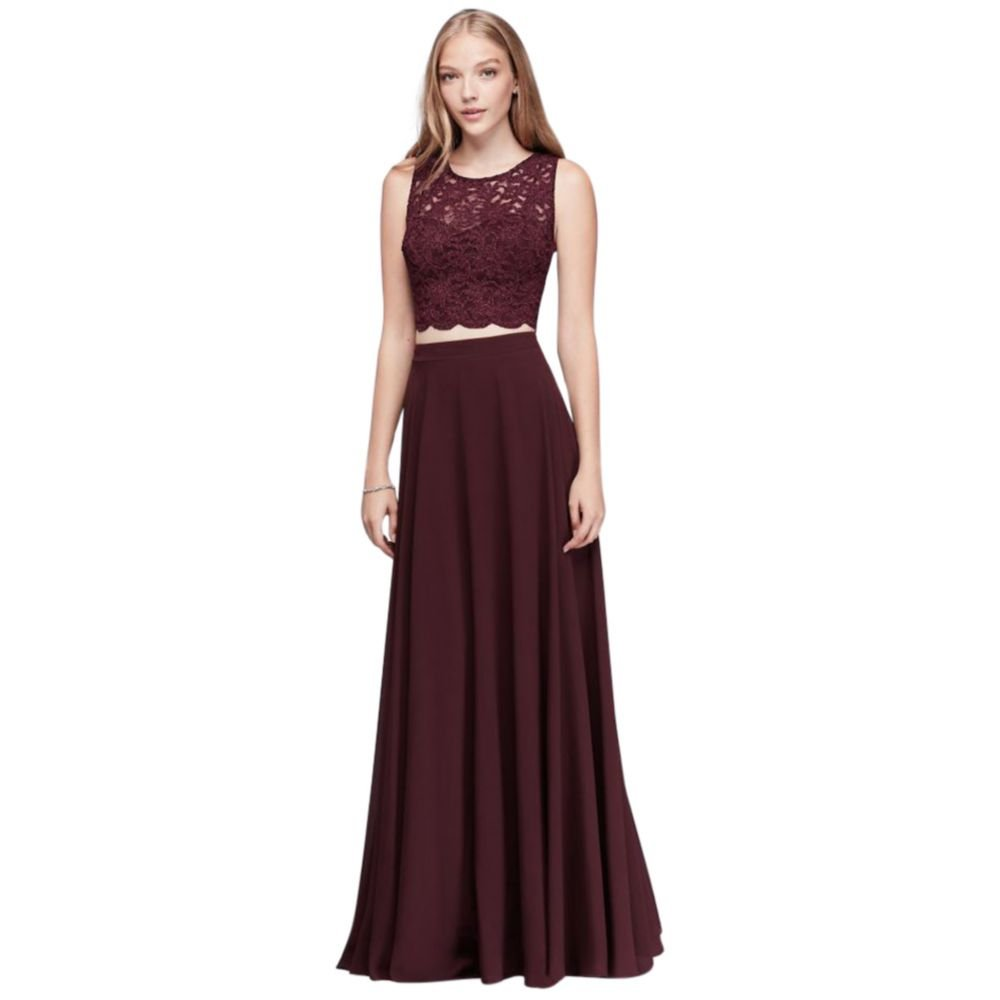 Scalloped Top and Chiffon Skirt Two-Piece Prom Dress Style 3186DY6C, Wine, 9