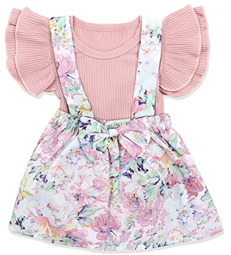 Newborn Baby Girls Clothes Floral Sleeve Romper+ Floral Short Pant 2pcs Summer Outfit 12-18 Months]()