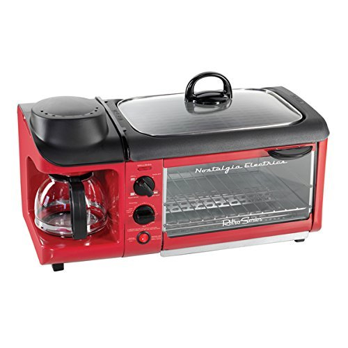 Modern Style 1500 Watts Retro Series 3-in-1 Breakfast Station, Non-Stick Surface, Red