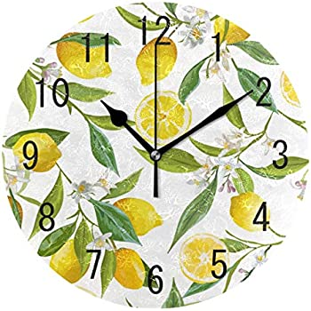 ALAZA Home Decor Vintage Floral Lemon Fruit Round Acrylic 9 Inch Wall Clock Non Ticking Silent Clock Art for Living Room Kitchen Bedroom