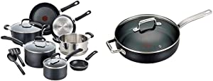 T-fal Professional Nonstick Cookware Dishwasher Safe Pots and Pans Set, Black & C51782 ProGrade Titanium Nonstick Thermo-Spot with Induction Base Saute Pan Jumbo Cooker Cookware, 5-Quart, Black