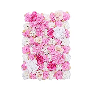 Fenteer Pack of 10 Upscale Artificial Rose Hydrangea Silk Flower Wall Panel Wedding Backdrop Decor Hot Pink