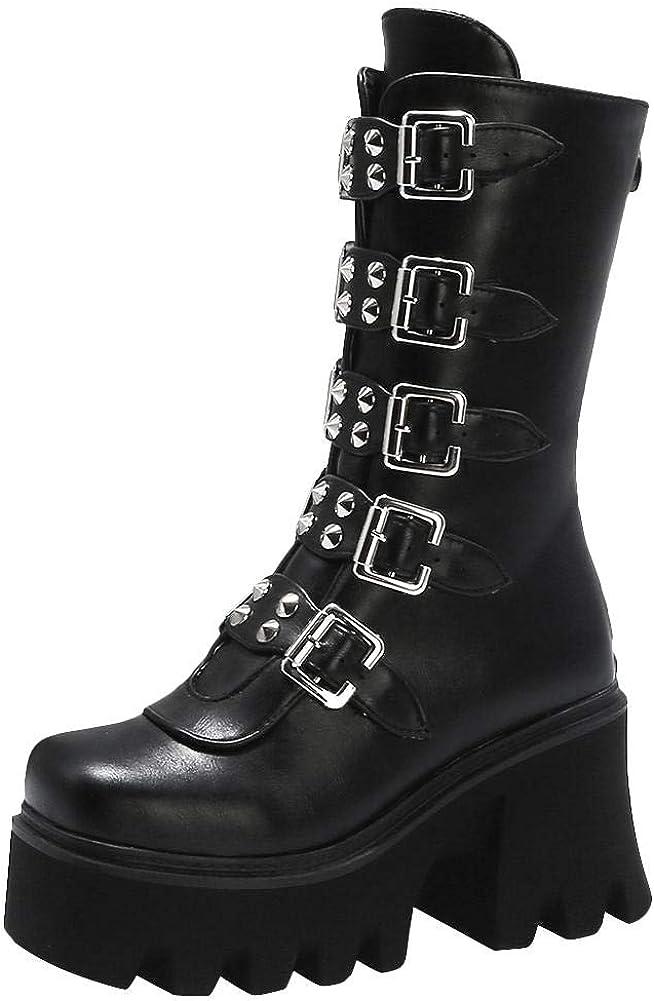 Zip Studded High Heel Platform Boots