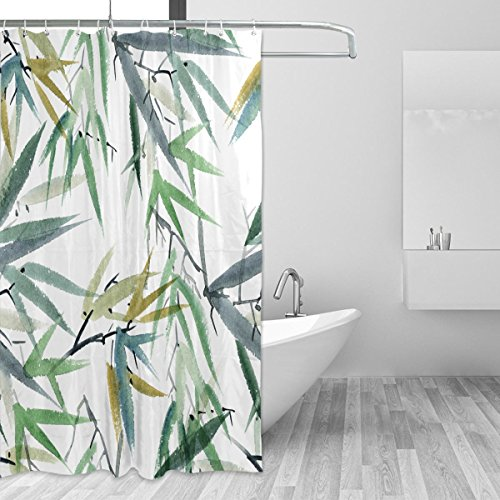 urtain Watercolor Bamboo Leaf Pattern Print 100% Polyester Fabric 66 x 72 Inches for Home Bathroom Decorative Shower Bath Curtains with Plastic Hooks ()