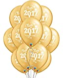 """Class of 2017 Graduation 11"""" Gold Latex Balloons - Pack of 12"""