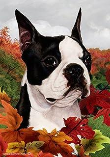 Boston Terrier   Tamara Burnett Fall Leaves Garden Flags