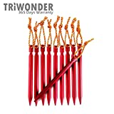 Triwonder 10 Pack Lightweight Aluminum Alloy Tent Stakes Pegs (Red - 7 Inches)