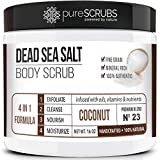 pureSCRUBS Premium Organic Body Scrub Set - Large 16oz COCONUT BODY SCRUB - Dead Sea Salt Infused Organic Essential Oils & Nutrients + FREE Wooden Spoon, Loofah & Mini Organic Exfoliating Bar Soap