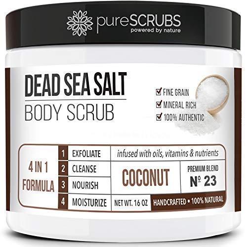 Premium Organic Body Scrub Set - Large 16oz COCONUT BODY SCRUB - Pure Dead Sea Salt Infused with Organic Essential Oils & Nutrients + FREE Wooden Spoon, Loofah & Mini Organic Exfoliating Bar Soap by pureSCRUBS