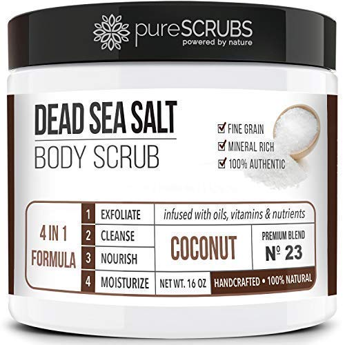 Premium Organic Body Scrub Set - Large 16oz COCONUT BODY SCRUB - Pure Dead Sea Salt Infused With Organic Essential Oils & Nutrients + FREE Wooden Spoon, Loofah & Mini Organic Exfoliating Bar Soap by pureSCRUBS (Image #8)