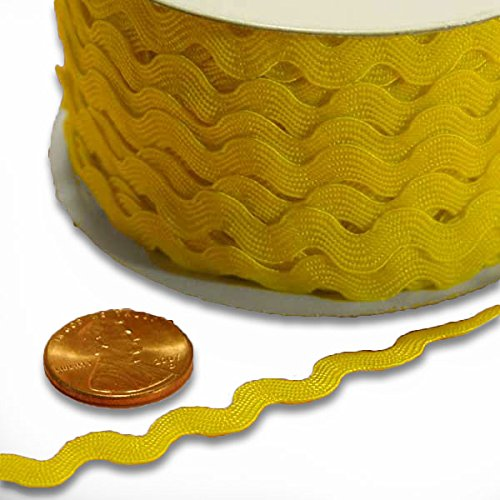 - 7 mm X 25 Yards Yellow Ric Rac Trim