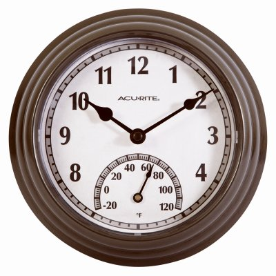 Chaney Instruments 02413A1 Indoor/Outdoor Clock With Thermometer, Gunmetal Gray, 8.5-In. - Quantity 4