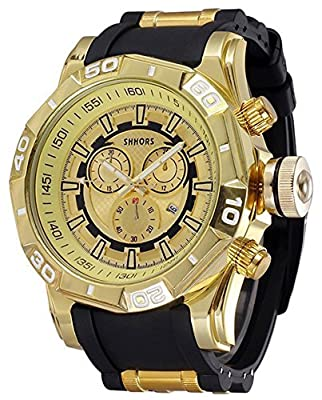 COCOTINA Men Luxury Sport Business Stainless Bullet Band Hip Pop Bling Quartz Watch (Black & Gold)