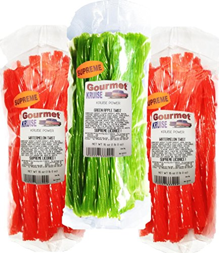 Kennys Licorice Watermelon Twist (Watermelon Licorice Twist 2-1lb Bags (1) Green Apple Twist Licorice 1lb (NET WT 48 OZ) Gourmet Kruise Signature Gifts)