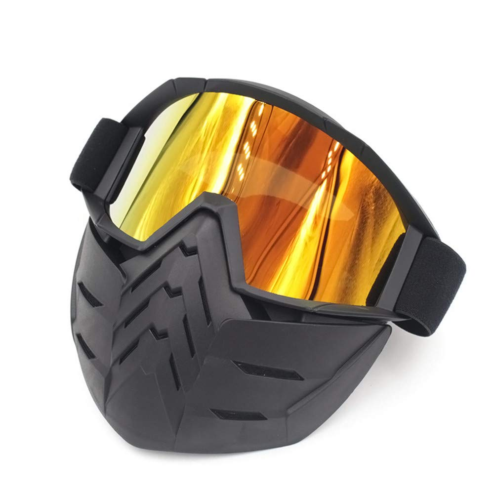 Motorcycle Goggles Mask Detachable Harley Style Protect Padding Helmet Sunglasses with Removable Face Mask Mouth Filter Adjustable Strap Vintage Road Riding UV Motorbike Glasses windproof outdoor Prot Peggy Gu